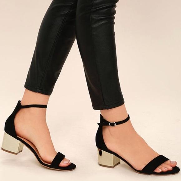 e554ed2e8c6 Black Gold Ankle Strap Block Heels Size 7.5. M 5b2f82b89519963f70462051